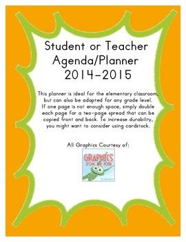 Teacher/Student Agenda and Planner- Orange & Green