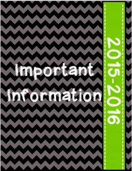 Teacher/Student Information Binder