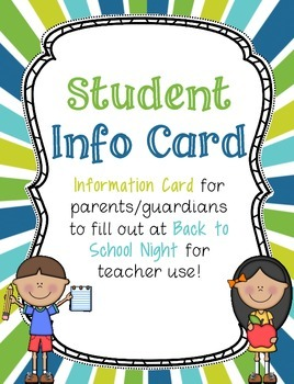 Teacher/Student Information Card