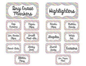 Teacher Toolbox Labels- Rainbow Stripe Theme- Editable