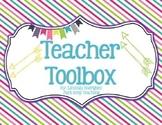 Teacher Toolbox Labels- Rainbow Stripe Theme- Editable
