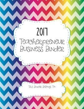 Teacherpreneur Business Binder 2017