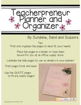 Teacherpreneur Planner and Organizer (Pretty Pink and Gold Version)