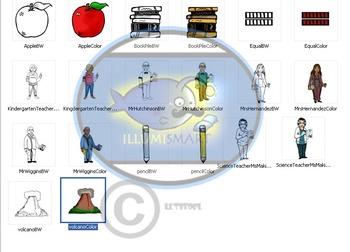 """Teachers"" 20 pc. Clip-Art Set (5 Teachers, 5 Objects) BW and Color"