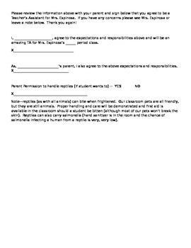 Teacher's Assistant Agreement and Expectations