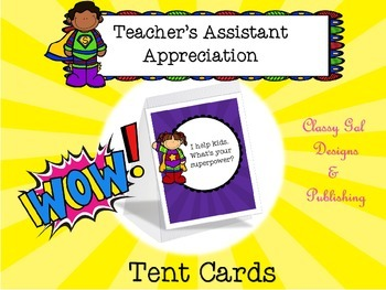 Teacher's Assistant Appreciation Tent Cards