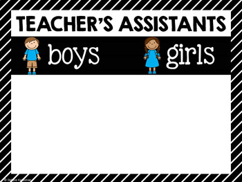 Teachers Assistants Job Chart - Stripes