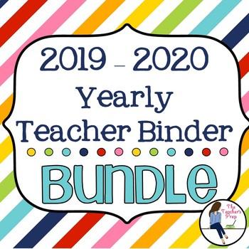 Yearly Teacher Binder Bundle - Rainbow Stripes