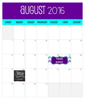 Teachers Calendar August Poster size