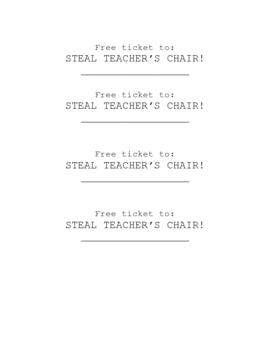 Teacher's Chair Reward