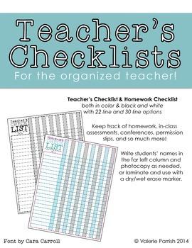 Teacher's Checklists