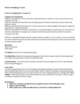 Teachers College Informational Writing Lesson 4: Developing Ideas of Interest