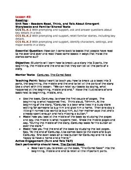 Teacher's College Kindergarten Unit 2 Reading Mini-lesson Written Completely