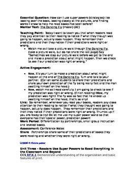 Teacher's College Kindergarten Unit 3 Reading Mini-lessons Written Completely