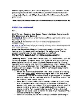 Teacher's College Kindergarten Unit 3 Reading Mini-lessons