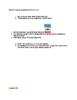 Teacher's College Kindergarten Unit 4 Reading Mini-lessons