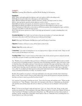 Teacher's College Kindergarten Unit 5 Reading Mini-lessons