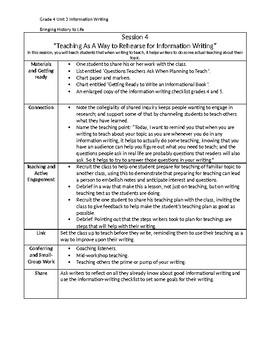 Teachers College Lucy Calkins Writing Workshop Unit 3