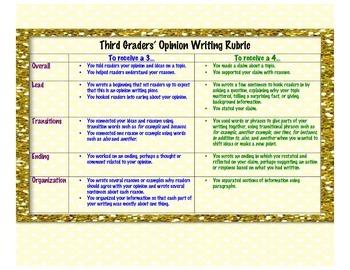 Teacher's College based Student-Friendly Writing Rubrics~ Grade 3