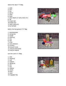 Teacher's Creatures Letter Bags Contents List (Hands-On Phonics)