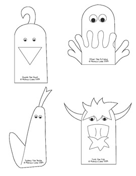 Teacher's Creatures Phonics Puppets A-Z (Student Set to Color and Take Home)