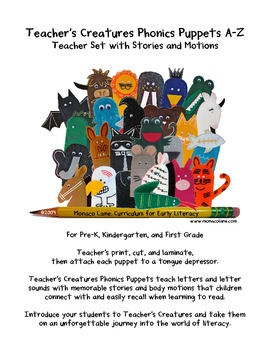 Teacher's Creatures Phonics Puppets A-Z (Teacher Set with Stories and Motions)