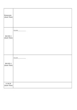 Teachers' Daily Planner (Block Schedule)