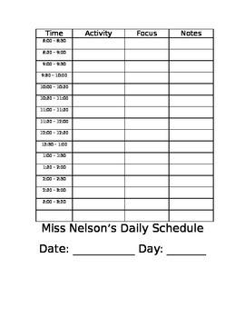 Teacher's Daily Schedule