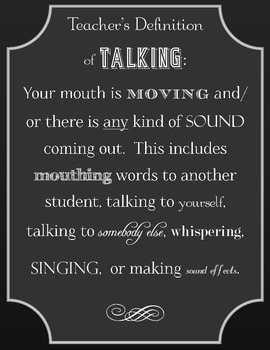 Teacher's Definition of Talking