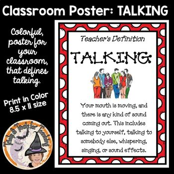 Teachers Definition of Talking Classroom Sign Poster Great for Back to School