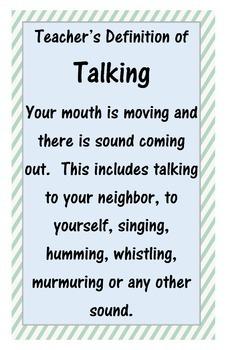 Teacher's Definition of Talking Poster