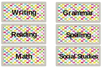 Teacher's Desk Labels