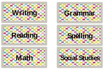 Teacher's Desk Labels