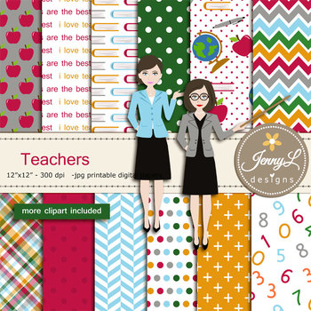 Teachers Digital papers and clipart SET