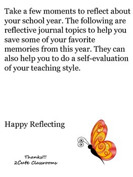 Teachers' End of the Year Reflective Journal