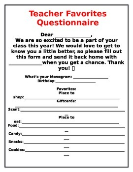 photo about Teacher Favorite Things Questionnaire Printable named Beloved Variables Questionnaire Worksheets Education