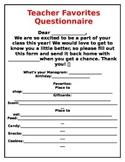 Teacher's Favorite Things Questionnaire