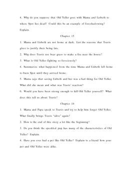 Teacher's Guide for Old Yeller