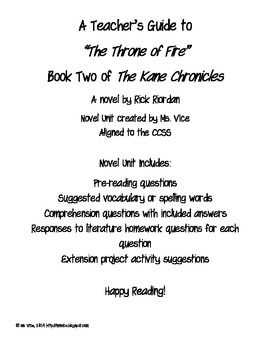 Teacher's Guide for the Throne of Fire