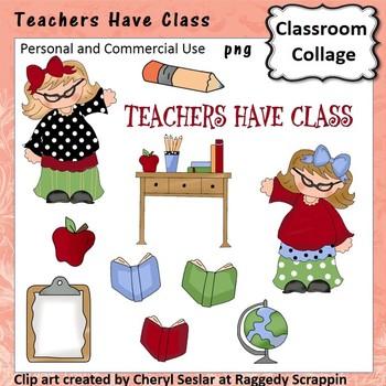 Teachers Have Class Clip Art - Color - pers/comm use books globe desk clip board