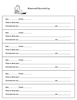 Teacher's Homework Log
