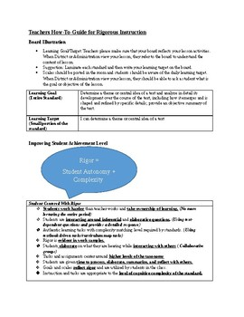 Teachers How-To-Guide For Rigorous Instruction