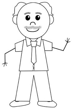 Teachers Line Art B/W Cartoon Clip Art for Commercial Use