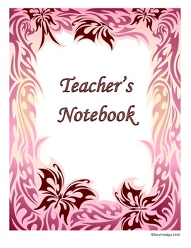 Teacher's Notebook-Pink and Brown Butterfly Theme