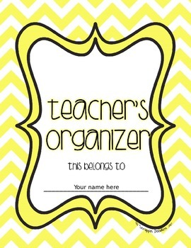 Teacher's Organizer Cover Page {Editable} FREE