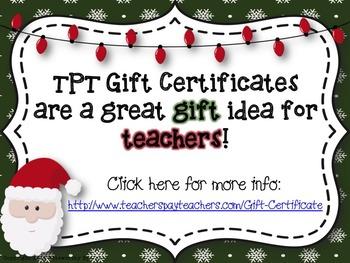 Teachers Pay Teachers Gift Certificate Graphics