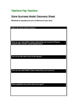 Ms Avici Teachers Pay Teachers Store Business Model Discovery Sheet