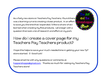 FREEBIE! Teachers Pay Teachers Tutorial - How Do I Make a Product Cover? EASY!