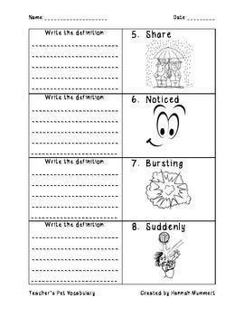 Teacher's Pet Vocabulary