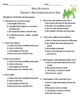 Teacher's Pets Comprehension and Vocabulary Test